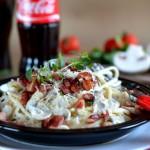 Špagete sa šampinjonima i slaninom