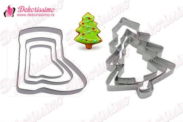 Metalni sekaci, pahulja i medanjak, 6 komada + jelka i novogodisnja cizma, 6 komada