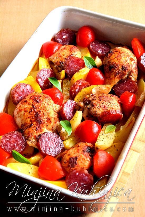 Piletina iz rerene sa kobasicom