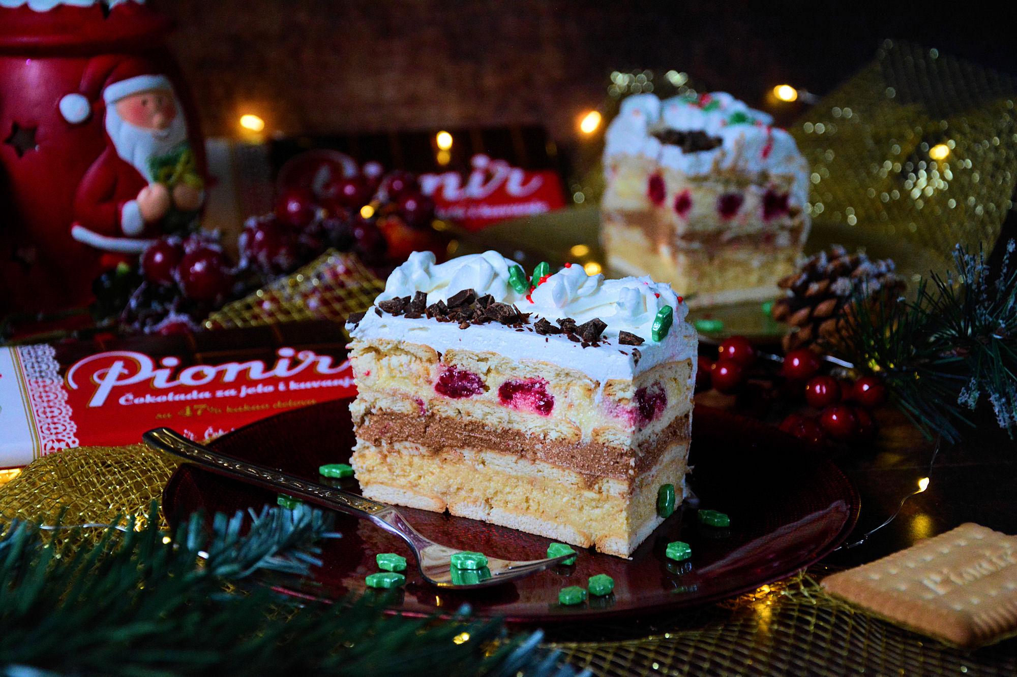 Čoko vanil keks torta sa malinama (video)